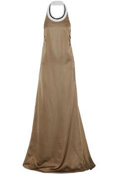 Metallic-trimmed silk-blend satin halterneck gown   BRUNELLO CUCINELLI   Sale up to 70% off   THE OUTNET