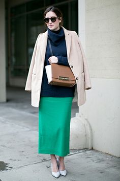 How gorgeous is this bright green skirt on Gala Gonzalez #NYFW | #StreetStyle | styloko.com