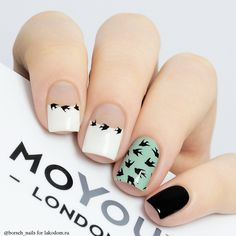 MoYou London Hipster - Nail art featuring bird(s) Bird Nail Art, Nail Art Diy, Diy Nails, Cute Nails, Stylish Nails, Trendy Nails, Nail Art Designs, Nail Design, Modern Nails