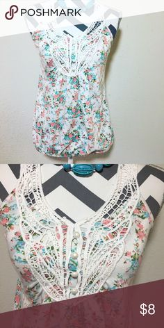 ⭐️SALE⭐️ Teal and coral floral tank 🌷💕 Teal and coral floral tank with pearl and white lace detail on neck Juliets Closet Tops Blouses