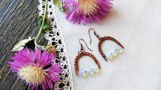 Moonstone Opalite earrings Dangle earrings Wire by IrenkaJanuary