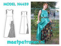 MAATPATRONEN Lange jurk gecombineerd van twee soorten stof.  MODEL N4459