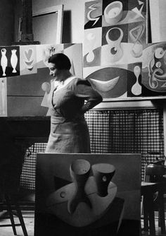 English painter Paule Vézelay (1892-1984) in her studio (1934). Photographer unknown. via England & Co Gallery