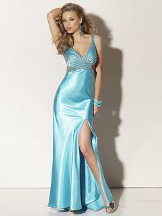 Floor Length Deep V-Neck Silky Blue Satin Embellished Prom Outwear