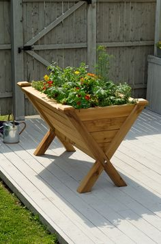 Garden Wedge Cedar Trough Planter