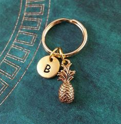 Pineapple Keychain SMALL Fruit Key Ring by MetalSpeakToo on Etsy