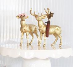Gold Deer Cake Topper Rustic Wedding Cake Topper by HalfPintFauna