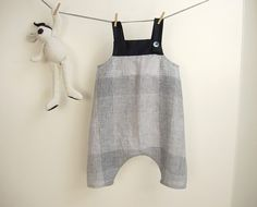White and blue linen overalls for baby boy / toddler sarouel romper for summer / 12-18 months