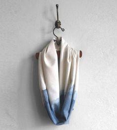 Indigo dip dye scarf