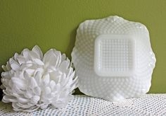 Milk Glass Square Bowl. Vintage Small Bowl with Diamond Pattern and Scalloped Ruffled Rim.  Milk Glass Candy Bowl. by AnythingDiscovered on Etsy