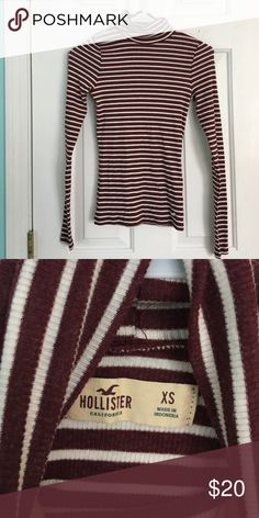 Long sleeve striped turtleneck Hollister maroon and white strip, ribbed turtleneck. Never been worn. Tops