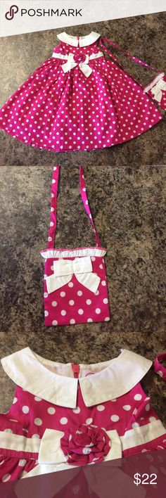 Donita Baby Girl Dress This is a brand new dress with tags.  The front of the dress has a bow and the back has a zipper and tie.  The dress comes with an adorable matching purse.  It's a size 12 months. Donita Dresses Casual