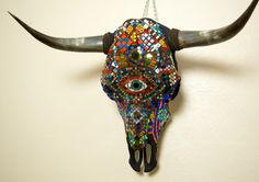 This is just amazing... Mosaic Steer Skull made with Handcut Dichroic and by Jiveworks.  Oh how I want this!