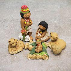 Novica Set of 7 Handcrafted 'Born in the Amazon' Nativity Scene Sculptures