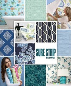 Sure Strip by York It's a wallpaper that you spray the backing with water & stick to the wall, easy to hang easy to remove. Stripped Wallpaper, A N Wallpaper, House Colors, Kids Rugs, Colours, York, Decorating, Water, Easy