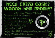 I am looking for 3 people to join my growing team! Visit zoeticzebra.itworks.com if you are interested in joining a botanically based company. <3