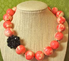 Pink and White Paper Mache Vintage Bead Necklace with Black Cluster Focal Bead