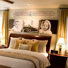 This website is full of cute lettering ideas! I like the canvas' above the bed-- A shrine of my kids!