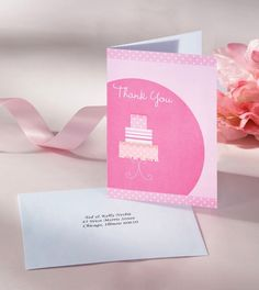 Bridal Shower Cake Thank You Cards