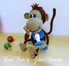 Pattern Crochet Monkey doll toy amigurumi by SavushkaDesigns