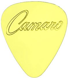 """myLife Hard Luxury """"Round Tip"""" Guitar Pick Made of Genuine Solid Brass {Yellow Gold Colored """"Camaro Logo"""" - Perfect for Creating Dynamic Tones on Any Type of Acoustic or Electric Guitar} [Single Pack] myLife Brand Products http://www.amazon.com/dp/B00X8PJDU2/ref=cm_sw_r_pi_dp_eFCNvb1Q3QEQY"""