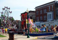 A shot of the quiet daytime midway of the Old Settler's Festival, an annual event held in downtown Columbia City, Indiana every summer.