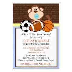 Sports Monkey Baby Shower Invite