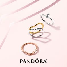 3ce22222a Minimal effort for maximum style. Simple stackable rings in sterling  silver, PANDORA rose and PANDORA Shine.