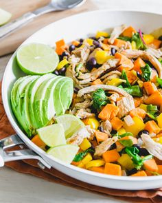 This turkey sweet potato skillet is a healthy way to repurpose leftover turkey (or chicken!) with sweet potatoes, black beans and other Mexican inspired ingredients.