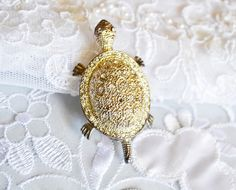 Large Tortoise BROOCH Animal Pin Art Nouveau Gold by ESTATENOW