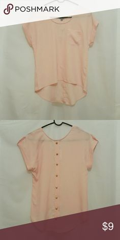 Peach High-Low Top New with tags  Has cute gold buttons down the back  1 pocket in the front Light material A little sheer   Size small Charlotte Russe Tops Blouses