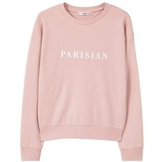 Message Cotton Sweatshirt (180 SEK) ❤ liked on Polyvore featuring tops, hoodies, sweatshirts, sweaters, clothing - ls tops, pink, shirts, round top, patterned tops and patterned sweatshirt