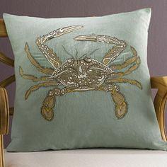 Ocean Crab Throw Pillows Embroidered Linen/Cotton   Gracious Style
