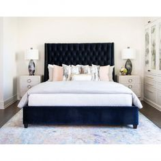 Amelia Tall Bed, Brussels Midnight - Go For Bold - Bedroom - Room Ideas Blue Headboard, Blue Bedding, Blue Bedroom, Bedroom Bed Design, Home Decor Bedroom, Modern Bedroom, Black Bedroom Design, Black Bedroom Furniture, Rustic Furniture