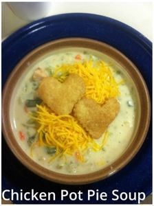 ... vegetable, chicken and cheese soup with the addition of pie crust