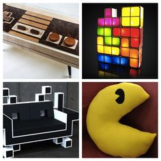 Space invader couch by IgorChak.com, PacMan pillow by ShadeDreams, Tetris block lights from firebox.com, NES controller coffee table that works from Boho Workbench