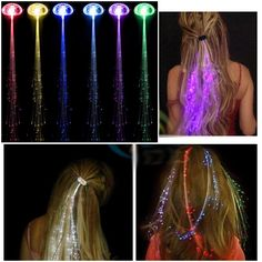 2pcs/lot Colorful LED Wigs Glowing Flash LED Hair Braid Clip