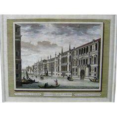 18thC Perspective View of Venice c1725 Antique Vue d' Optique Print Engraving