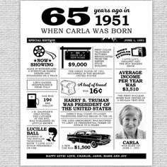 65th Birthday Poster with Photo 65th Birthday by IdRatherDoodle