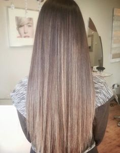 long straight brown hair with balayage highlights