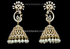 18 Karat Gold 'Peacock' Diamond Jhumkas - Diamond Dangle Earrings with Pearls Note: Only front side has Diamonds as shown in the picture, the back part of Diamond Jhumkas, Diamond Dangle Earrings, Wedding Accessories, Peacock, 18k Gold, Dangles, Diamonds, Ships, Delivery
