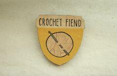 Crochet Fiend Badge of Honor Brooch Mustard by stoicandpariah, $18.00