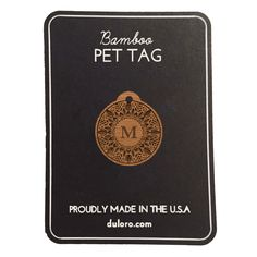 Pet Tag - Wood Monogram Dog tag - Floral Cirlce #wooddogtag #dogtag #keychain