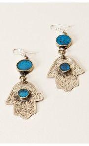 Treasure Blue Hamsa Earring