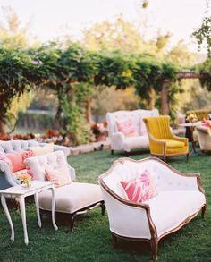 Ceremony seating eclectic wedding