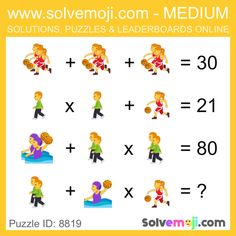 Solvemoji - Free teaching resources - Emoji math puzzle, great as a primary math starter, or to give your brain an emoji game workout. Math Puzzles Brain Teasers, Maths Puzzles, Mind Games Puzzles, Maths Starters, Math Challenge, Body Workout At Home, Primary Maths, Picture Puzzles, Brain Games