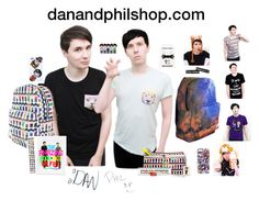 """""""Dan and Phil Merch"""" by hanakdudley ❤ liked on Polyvore"""