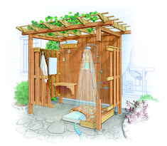 Affordable Outdoor Shower Ideas To Maximum Summer Vibes 34 Outdoor Baths, Outdoor Bathrooms, Outdoor Kitchens, Outside Showers, Outdoor Showers, Outdoor Spaces, Outdoor Living, Outdoor Decor, Backyard Patio