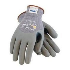 Protective Industrial Products® 2X MaxiCut® Dry By ATG® Cut Resistant Gray Micro-Foam Nitrile Palm And Knuckle Coated Work Gloves With Gray Seamless Dyneema®, Lycra® And Glass Liner , Continuous Knit Cuff And Reinforced Thumb Crotch
