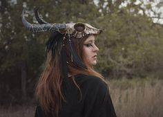 Skull headdress feather viking costume shaman mask black horns tribal pagan warrior crown festival cap horned helmet with feathers Wicca, Pagan, Pheasant Feathers, Black Feathers, Festival Caps, Vikings, Costume Viking, Tarot, Costume Armour